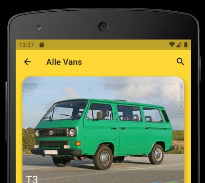 Stöbere durch die Modelle in der Vanfinder App